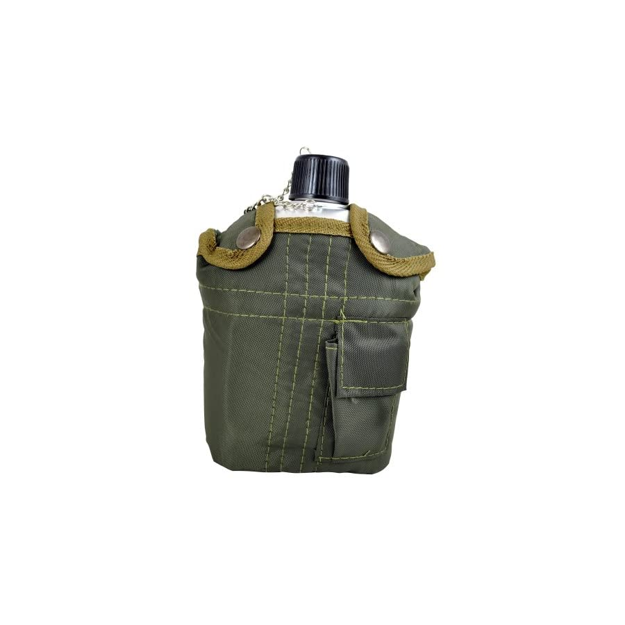 Fury G.I. Style Aluminum Canteen with Cup and Cover, 1 Quart