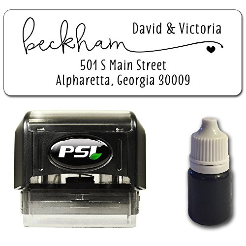 Custom Return Address Stamp, Self Inking Pre-Inked, Bundle with Stamp, Extra Refill Ink and 100 Matching Adhesive Address Label Stickers - Sweet Accent Heart Design