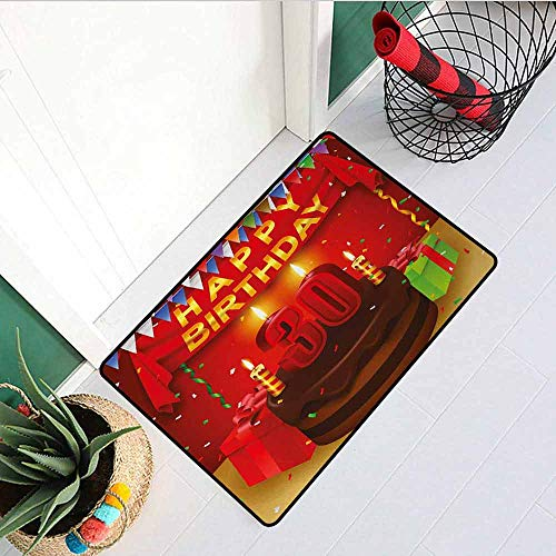 GloriaJohnson 30th Birthday Universal Door mat Celebration with Chocolate Tasty Cream Cake with Colorful Flags and Gifts Door mat Floor Decoration W31.5 x L47.2 Inch Multicolor (Best Chocolate Cake In Houston)