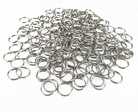 yueton Pack of 200 Nickel Plated Split Ring Chain Part for Connecting Clasp, Charms, Links and Other Jewelry (Dog Tag Chain Packs)
