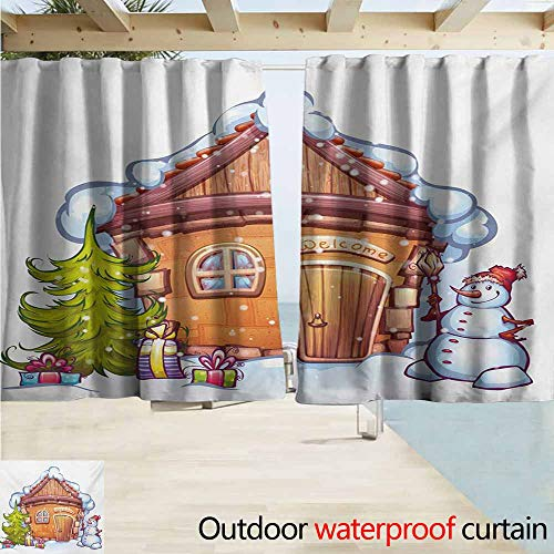 Zmcongz Christmas Outdoor Curtain Cartoon Style Cute House with Snowy Roof Snowman and Fir Tree Presents Curtains for Living Room W55 xL63 Caramel Green White