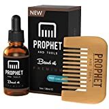 Prophet and Tools Beard Oil and Beard Comb Kit! FREE Beard Care Ebook Included - Unscented Leave-in Conditioner, Softener, and Beard Growth - 0% Alcoh