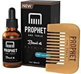 Prophet and Tools 30ML Men's Beard Oil and Comb Kit | Best Beard, Mustache & Goatee Growth Oil | Leave-In Conditioner and Softener | 100% Natural & Organic mens Facial Hair Product | With FREE E-Book