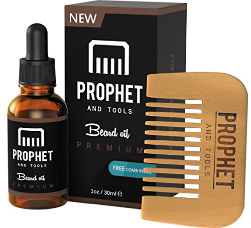 Prophet and Tools 30ML Men's Beard Oil and Comb Kit | Best Beard, Mustache & Goatee Growth Oil | Leave-In Conditioner and Softener | 100% Natural & Organic mens Facial Hair Product | With FREE ()