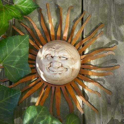 Elizabeth Keith Designs Little Smiling Sun Face Accent Wall Hanging, Made in USA, Indoor Outdoor, 10