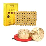 Abbott 10-Years Purity 60:1 Ratio 54 Rolls Sticks Pure Moxibustion + 1 Copper Portable Smokeless Mugwort Moxibustion Moxa Box Round Shape Burner Set X'Mas Gift/Dad's/Mom's Gift