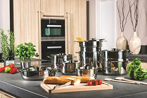 Mepra Gourmet Kitchen Cookware Set - 14 Pcs. Stainless Steel Spaghetti Pot for Induction, Halogen, Electric Hobs