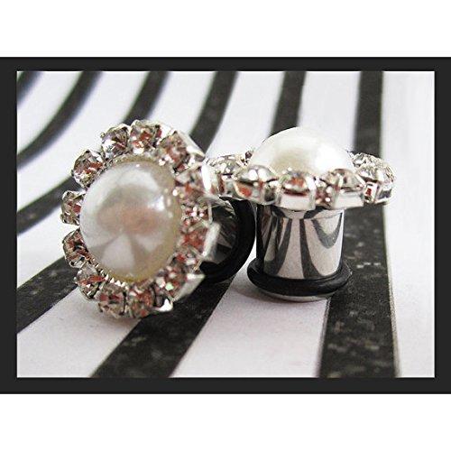 Faux Pearl with a border of Rhinestones Stainless Steel Wedding EAR TUNNELS plug gauge sizes 8g, 6g, 4g, 2g, 0g, 00g aka 3, 4, 5, 6, 8, 10mm (Wedding Gauges)