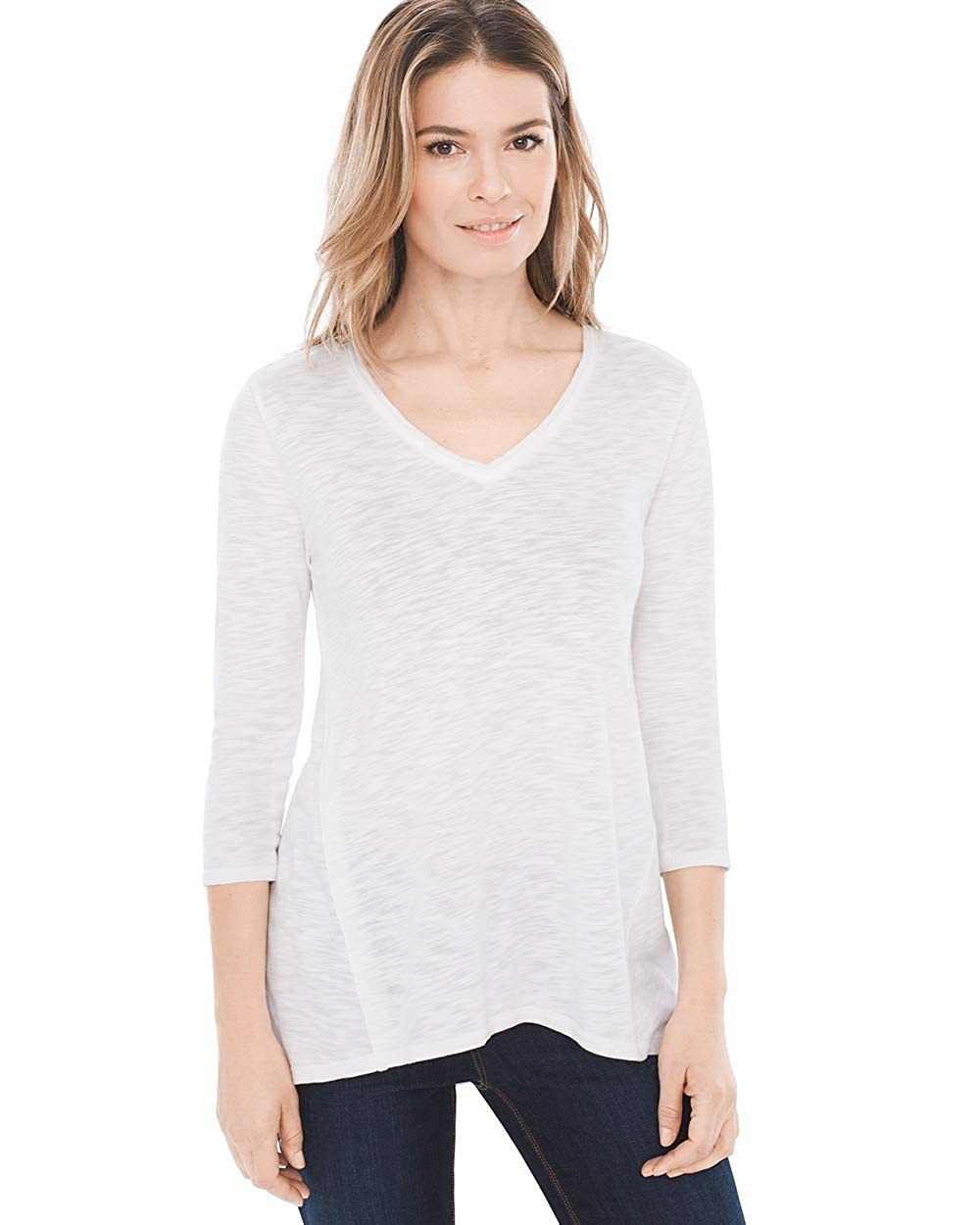Chico's Women's V-Neck Slub 3/4 Sleeve Tee Shirt