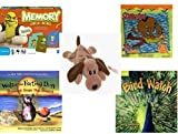 Children's Gift Bundle - Ages 3-5 [5 Piece] - Shrek Forever After Memory Game - Scooby Doo & Shaggy 24 Piece Puzzle Toy - Ty Beanie Baby - Bones the Dog - Walter the Farting Dog: Banned From the Bea
