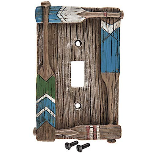 - Coconut Grove Galleria Paddle Oar Canoe Boat Rowing Rafting Brown Blue Wood Grain Switch Plate Cover