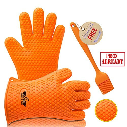 Check Out This Clarks & Care BBQ silicone Gloves heat resistant includes BBQ Brush. grill, Oven and ...