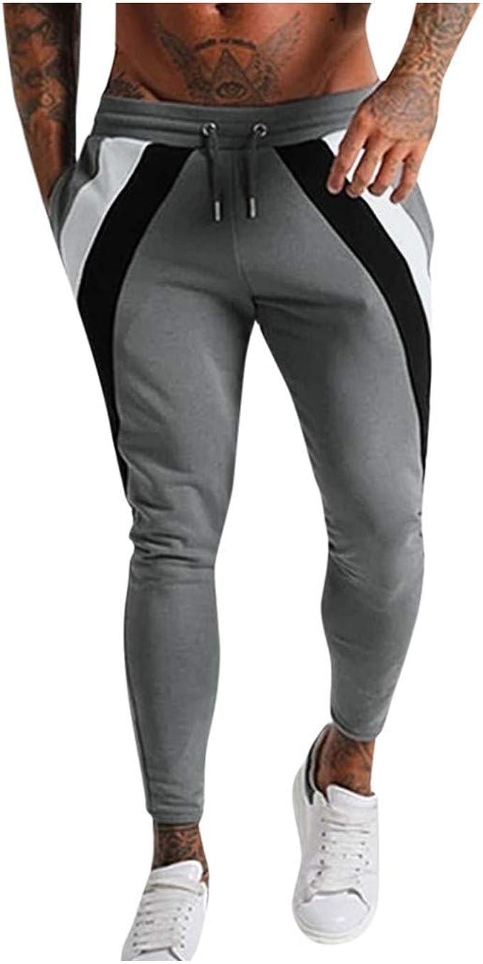 Qinhanjia Men S Casual Stitching Color Trousers Sports Running Drawstring Long Pants Men S Casual Stitching Color Trousers Sports Running Sports Drawstring Long Pants Tapered Pants Bekleidung