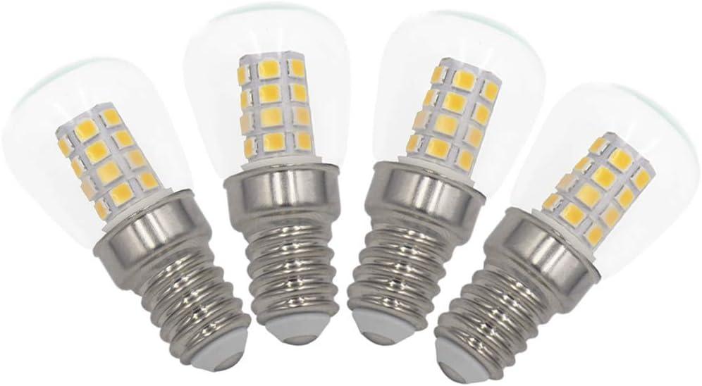 3W E14 LED Frigorífico Congelador Bombillas Pack de 4 Blanco Cálido 3000K, equivalente a 40W, para nevera, máquina de coser, lámpara de escritorio