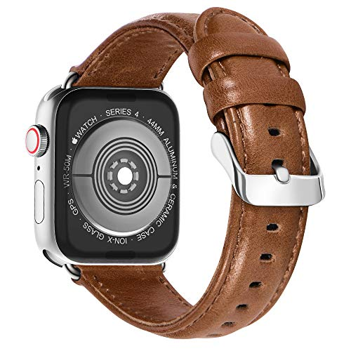 (KADES Compatible for Apple Watch Band Genuine Leather Replacement Strap with Retro Crazy Horse Texture Compatible for Apple Watch Series 4 44mm & Series 3/2/1 42mm, Brown)