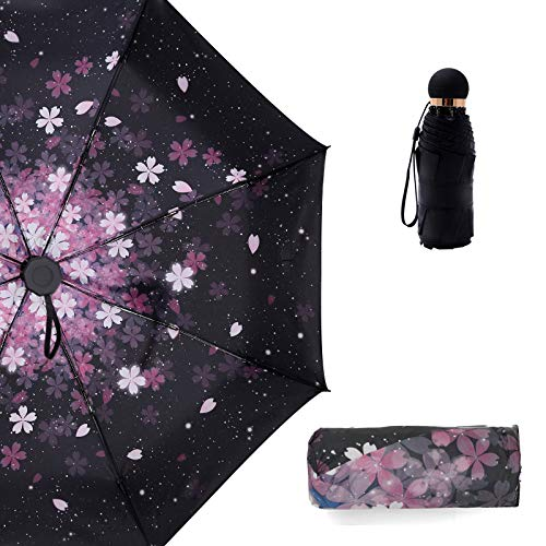 (Compact Lightweight Sun&Rain Travel Mini Umbrella for Women - Windproof and UV Protection Umbrella with Sakura Printing Cherry Blossom- Manual Open Close (Style 3))