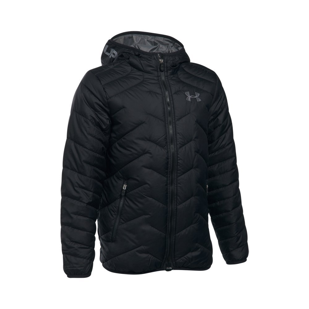 Under Armour Boys' ColdGear Reactor Hooded Jacket, Black/Graphite, Youth Small by Under Armour