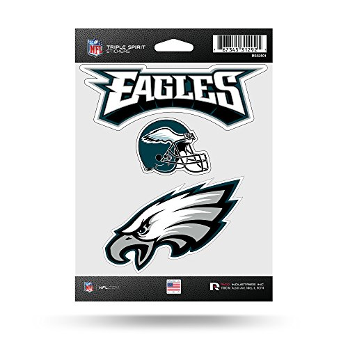 NFL Philadelphia Eagles  Triple Spirit Stickers, Teal, Black, White, 3 Team (Teal Nfl Football)