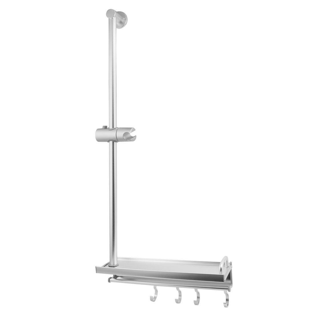 uxcell Bathroom Space Aluminum Shower Slide Bar Set Sliver Tone w 5-Hook Shelf and Screw