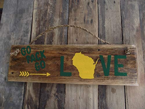 weewen Packer Love Packer Rustic Wood Pallet Packer Packer Wall Green Bay Wall Hanging Sign for Home Decor Gift