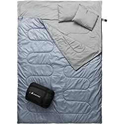 MalloMe Double Camping Sleeping Bag – 4 Season Warm Weather and Winter, Lightweight, Waterproof – Great for Adults & Kids - Excellent Camping Gear Equipment, Traveling, and Outdoor Activities
