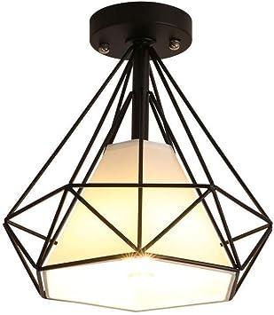 Foco LED De Diamante, Luz De Techo De Araña De Techo, Escalera De Pasillo De Luz De Techo De Jaula De Metal Vintage Estilo: Amazon.es: Hogar