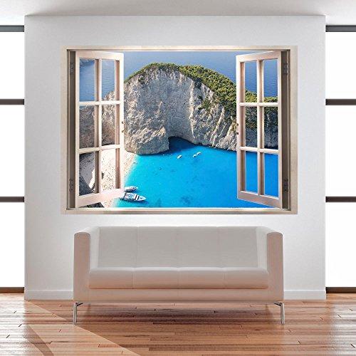 3D WANDILLUSION 140x100 cm Wandbild Fototapete Poster XXL Fensterblick Vlies Leinwand Panorama Bilder Dekoration Meer Strand Dünen