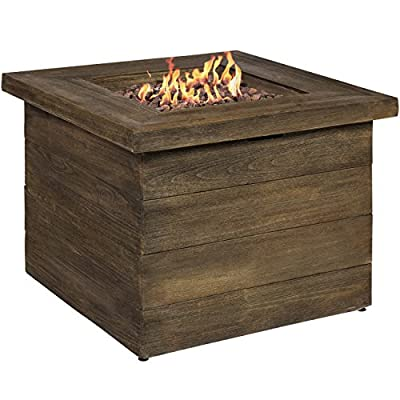 Best Choice Products Outdoor Gas Fire Pit Centerpiece Table w/Lava Rocks and Cover, Brown