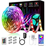 LED Strip Lights, L8star Smart Color Changing Rope Lights 16.4ft/5M SMD 5050 RGB Light Strips with Bluetooth Controller Sync to Music Apply for TV, Bedroom, Party and Home Decoration (16.4ft)