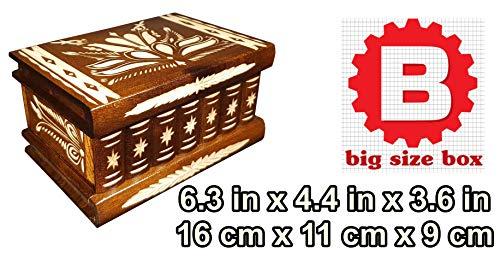 (Wooden Jewelry Secret Puzzle Stash Box Case with Secret Compartment Lock hiden Key, Personal Secrets Storage Safe, Brain Teaser Big Size - Measures 6.3