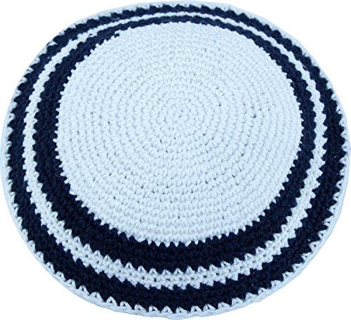 Holy-Land-Market-WhiteDark-Blue-17cm-DMC-100-Knitted-Cotton-Kippah-Torah-Chabad-Yarmulke
