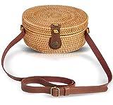 Boho Chic Rattan Ata Round Crossbody Bag with Genuine Leather Adjustable Strap for Women by la Bambu