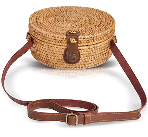 Boho Chic Rattan Ata Round Crossbody Bag with Genuine Leather Adjustable Strap for Women by la (New Weave Baskets)