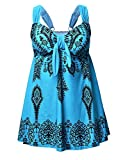 Plus Size Swimwear Printed Tankini Swimsuits 2 Pieces Beachwear with Swim Shorts