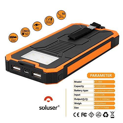Solar Chargers 15000mAh Soluser lightweight 2 USB Solar Battery quickly Charger External Battery Pack Solar phone Charger electricity Bank by indicates of  6LED Flashlig Solar Chargers