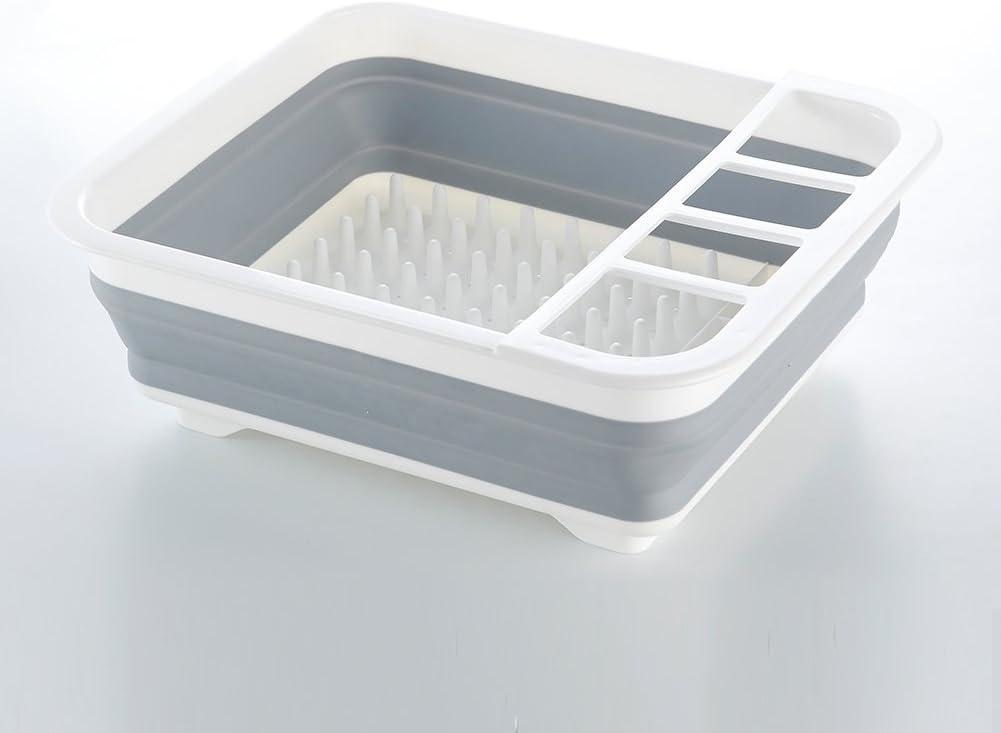 ATTAC plegable escurridor para platos de plástico para cocina Camping caravana barco, Gris/Blanco