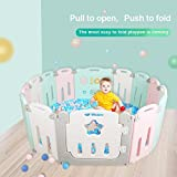 Foldable Baby Playpen 14 Panel Kids Activity Center Toddler Play Yard Easy to Store Safety Games Fence Indoor and Outdoor Kids Nursery Center New Pen(Multicolour)