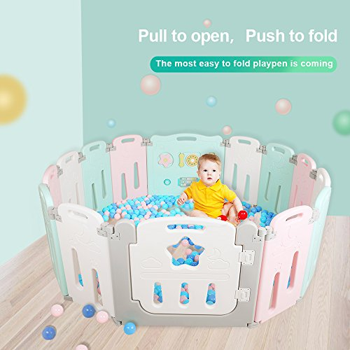 Foldable Baby Playpen 14 Panel Kids Activity Center Toddler Play Yard Easy to Store Safety Games Fence Indoor and Outdoor Kids Nursery Center New Pen(Multicolour) ()