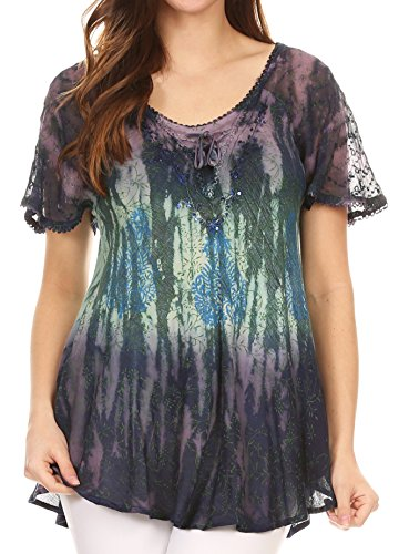 Sakkas 17875 - Nayen Tie-Dye Sheer Cap Sleeve Embellished Relaxed Fit Drawstring Tunic Top - Navy - OS