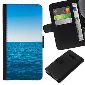 NEECELL GIFT forCITY // Billetera de cuero Caso Cubierta de protección Carcasa / Leather Wallet Case for Samsung Galaxy Core Prime // Azul océano y el cielo