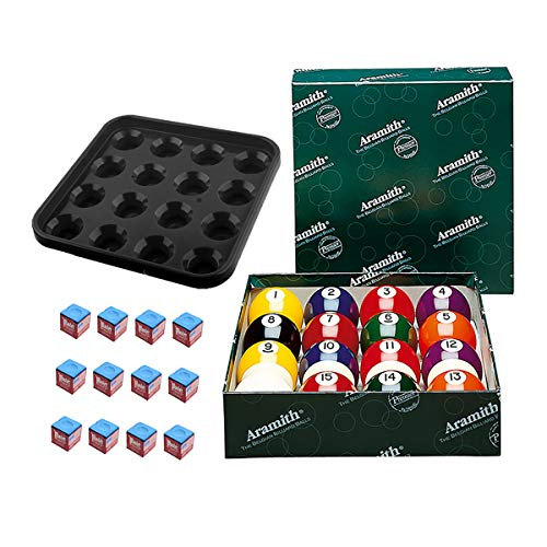 Aramith Premier Billiard Ball Set Bundle with 12 pcs Master Brand Blue Chalk and Plastic Ball Tray