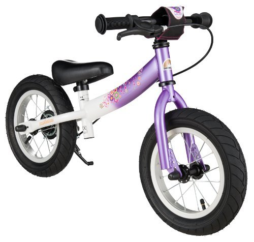 BIKESTAR Original Safety Lightweight Kids First Balance Running Bike with brakes and with air tires for age 3 year old girls | 12 Inch Sport Edition | Candy Purple & Diamond White