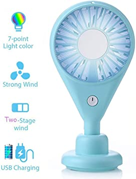 Mini USB Handheld Portable Desktop Strong Wind Mute Night Light Charging Small Electric Fan