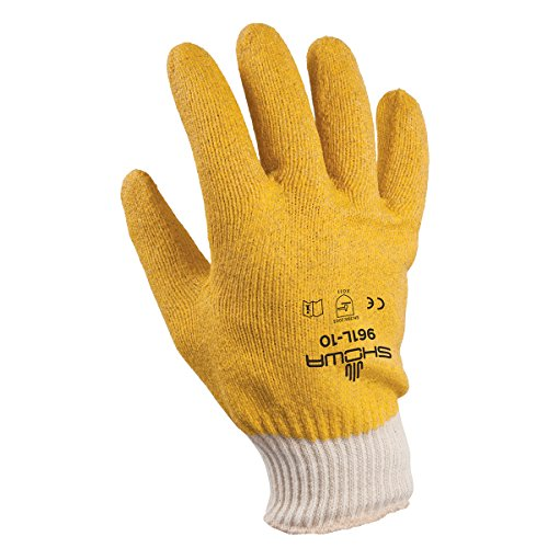(SHOWA 961 KPG Fully Coated PVC Glove, Seam-Free Cotton Knit Wrist Liner, General Purpose Work, Large (Pack of 12 Pairs))