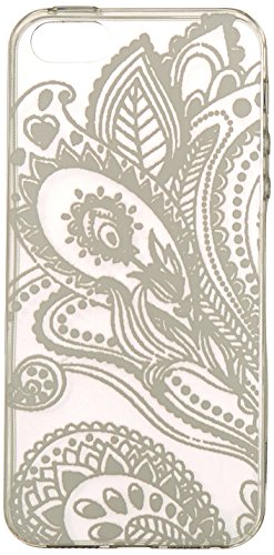 iPhone 5S Case, Wendy's StoresTM Clear Plastic Case Cover for Apple Iphone 5 5S 5G (Henna White Floral Paisley Flower Mandala) - Henna Phone Cases Iphone 5s