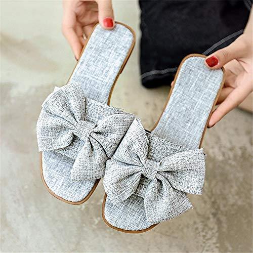 Pantoufles Gris Gris Ouvert et Yiwuhu à Chaussures EU Couleur nœud 40 Plat Plage Sauvage Bout de à Taille dxwTBqwO