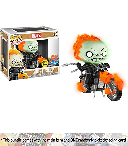 [Glow-in-Dark] (PX Exclusive): POP! Marvel x Marvel Universe Vinyl Figure + 1 Official Marvel Trading Card Bundle (Ghost Rider Skull)