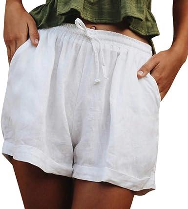 Pantalones Cortos para Mujer de algodón elástico, Pantalones Cortos para Verano, Playa, Pantalones Informales Blanco XL: Amazon.es: Ropa y accesorios
