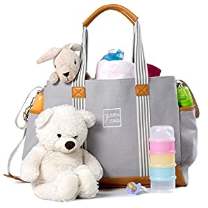 Diaper Bag for Girls and Boys - Large Capacity Baby Bag - Nappy Bag - Diaper Tote - Plus Changing Pad, Stroller Straps and 10 Pockets - Best Baby Shower Gift by 7Senses (Grey)