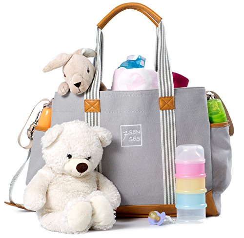 Diaper Bag for Girls and Boys – Large Capacity Baby Bag – Nappy Bag – Diaper Tote – Plus Changing Pad, Stroller Straps and 10 Pockets – Best Baby Shower Gift by 7Senses (Grey)